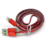 New Metal Fish Scale Lightning Cable in Red for iPhone 6 plus, 6S, 6, SE, 5 Series - 1 metre