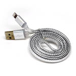 New Metal Fish Scale Lightning Cable in Silver for iPhone 6 plus, 6S, 6, SE, 5 Series - 1 metre