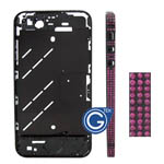 Swarovski Diamante Midframe with Pink Crystals for iPhone 4S in Black