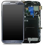Genuine Samsung Galaxy Note 2 GT-N7100 Lcd + Touch + Frame Assembly - Titanium Grey - Part Number: GH97-14112B