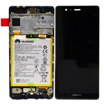 Genuine Huawei P9 Complete Lcd with Digitizer Touchscreen including Battery in Titanium Grey- Huawei part no: 02350RPT