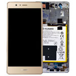 Genuine Huawei P9 Lite Complete Lcd with Digitizer and Frame including Speaker, Headphone Jack, Side Button Flex, Side Buttons, Vibrator and Battery in Gold- Part no: 02350TMS