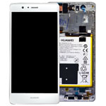 Genuine Huawei P9 Lite Complete Lcd with Digitizer and Frame including Speaker, Headphone Jack, Side Button Flex, Side Buttons, Vibrator and Battery in White- Part no: 02350SLF