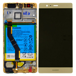 Genuine Huawei P9 Plus Complete Lcd with Digitizer Touchscreen including Battery in Gold- Huawei part no: 02350SUQ