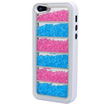 Luxury iPhone 5 Linear Bling Case with Hot Pink and Blue Crystals in White