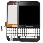 Blackberry Q5 Lcd and Digitizer complete with keypad bezel, frame and speaker in black
