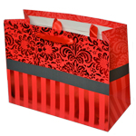 Special Christmas Offer- Decorated Shiny Bags with Flowers and Stripes in Red- Size Medium-23x17.5 cm (Pack of 12 Bags)