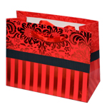 Special Christmas Offer- Decorated Shiny Bags with Flowers and Stripes in Red- Size Small- 14x11 cm cm (Pack of 12 Bags)