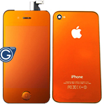 iPhone 4 LCD and Digitizer in Orange Gold with Battery Cover and Matching Home Button - Mirror effect