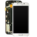 Genuine Samsung S6 Edge SM-G925 Lcd and Touchpad with Frame Assembly in White - Samsung  Part number : GH97-17162B