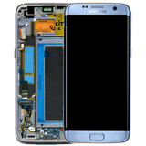 Genuine Samsung S7 Edge Complete lcd and touchpad with frame in New Coral Blue colour - Part no: GH97-18533G