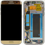 Genuine Samsung Galaxy S7 Edge (SM-G935F) Complete lcd and touchpad with frame in Gold - Part no: GH97-18533C