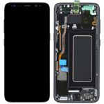 Genuine Samsung S8 (SM-G950) Complete lcd and touchpad with frame assembly unit in Black - Part no: GH97-20457A