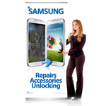 Pull Up Banner Stand for Shop Display Showing Samsung Repairs Accessories unlocking - Shipped to UK Only