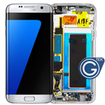 Genuine Samsung SM-G935F Galaxy S7 Edge Complete lcd and touchpad with frame in Silver - Part no: GH97-18533B