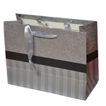 Special Christmas Offer- Decorated Shiny Bags with Flowers and Stripes in Silver- Size Medium-23x17.5 cm (Pack of 12 Bags)
