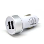 Nokoko Universal Dual USB Car Charger in White and Silver (GPS/ Tablets/ Smartphones/ iPhone)