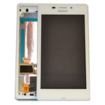 Genuine Sony Xperia M2 Aqua D2403 Front Cover LCM TP Assy Complete Lcd and Touchpad with Frame, Flex and Buttons in White- Sony part no:78P7550001N