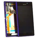 Genuine Sony Xperia M2 (D2303) Complete Front LCD with Digitizer Touchscreen in Purple- Sony part no: 78P7120005N
