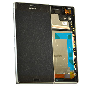 Sony Xperia Z3 (D6603) Complete lcd with touchpad and frame and Front Assy in Silver Green - Sony part number: 1290-6077