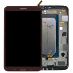 Genuine Samsung SM-T311,T315 Galaxy Tab 3 8.0 LTE Complete Lcd with Digitizer, Frame and Home Button in Brown- Samsung part no: GH97-14915B