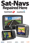 New Series A2 Sat Navs Repaired Here Poster showing Tom Tom, Garmin and more (Please note posters are shipped within UK only and sometimes delivered seperately)