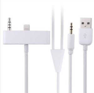 3.5mm 8pin to USB Aux Car Audio Cable Adapter For Apple iphone 5 5S 5C in White (minimum order 2 pcs)