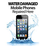 New A3 Water Damaged Mobile Phones repaired here poster showing iphone 5