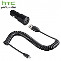 Genuine HTC Micro USB Car Charger  - HTC-CC-C200 - Model: 79H00094-02M for Sensation XL, Xe, Titan, Explorer, Rhyme, Evo 3D, One S, X, Etc