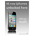 A3 iphone unlocking poster in grey shadow