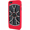 iPhone 5 Diamonte Alloy Wheel with Red Tyres and Black Pearl - Rim in Royal Black, Silver & Red (minimum order 2 pcs)