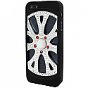 iPhone 5 Diamonte Alloy Wheel with Black Tyres and White Pearl - Rim in Silver, Silver & Red (minimum order 2pcs)