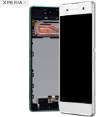 Genuine Sony Xperia X (F5121)/X Dual (F5122) Complete Display Lcd with Digitizer Touchpad with Frame in White-Sony part no: 1302-4795