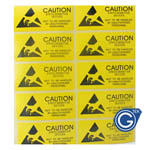 Yellow Caution Sticker 100pcs pack