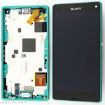 Genuine Sony Xperia Z3 Compact (D5803) Front cover with touchpad and lcd in Green- Sony Part no: 1289-2707