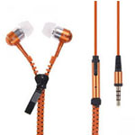 Zipper Earphones in Orange