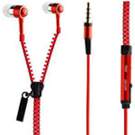 Zipper Earphones in Red