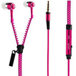 Zipper Earphones in Hot Pink